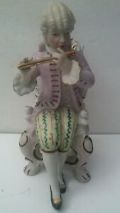 Old Victorian Bisque Hand Painted Figurine Man Playing Flute