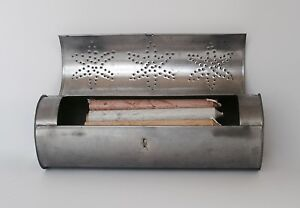 Primitive Candle Storage Box Punched Tin Candle Holder Wall Hanging Cylinder