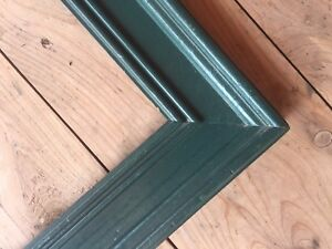 Vintage Painted Wood Frame Wide Green Country Shabby Chic Fits 11 7 8 X 16 7 8
