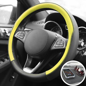 Pu Leather Steering Wheel For Auto Car Yellow Black With Black Dash Mat Pad