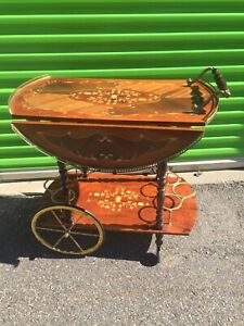 Vintage Italian Marquetry Drop Leaf Wine Tea Beverage Cart Trolley