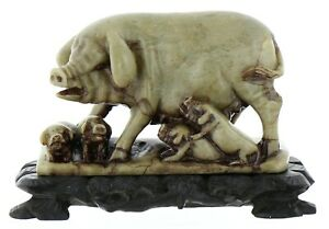 Chinese Republic Period Carved Soapstone Sow Pig With Piglets On Ebony Wood Base