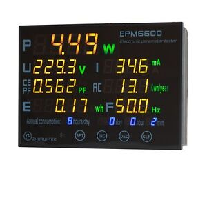Epm6600 10a 2000w Energy Consumption Meter watt Meter Power Analyzer monitor