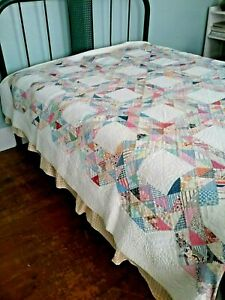 Vintage 1930 S Ocean Waves Antique Patchwork Quilt Hand Quilted Hand Pieced