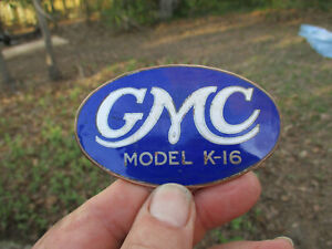 Antique 1915 1920 Gmc Truck Model K 16 Enamel Radiator Emblem museum Piece