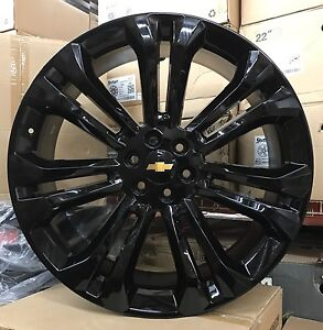 26 Gmc 1500 Sierra Gloss Black Tires Rims Denali Chevy Silverado Tahoe Wheels
