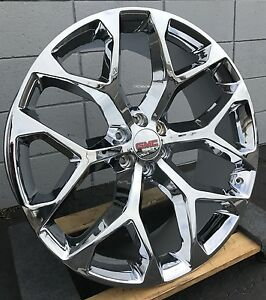 20 Gmc Sierra Snowflake Wheels Tires Chrome Tahoe Suburban Silverado Rims New