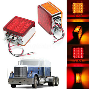 2x Amber red Square 39led Double Face Stud Mount Cab Fender Turn Signal Light