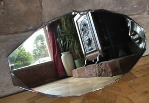 Vintage Mirror Frameless Bevelled Edges Art Deco Oval Beautiful Antique 27 X 15