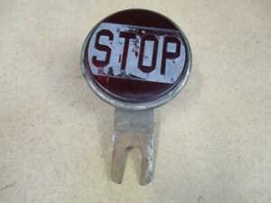 1920s 30s Antique Glass Embossed 4 Stop Light Model T A Hot Rod Brake Lamp