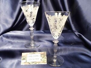 Morgantown Saranac Etched Crystal Claret Wine Glass Stem 7690 Set Of Two
