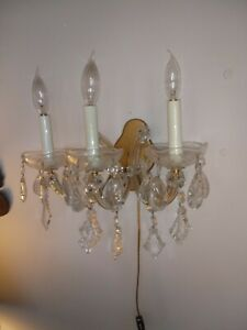 Antique Crystal Italian Victorian Wall Sconces Pair