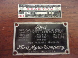 Vtg Sparton Horn Tag Ford Model A Patent Body Tag