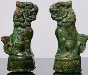 Late Ming Terracotta Sancai Green Glazed Foo Dogs
