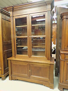Louis Philippe Tall Walnut China Cabinet Antique Bookshelf Doctor S Furniture