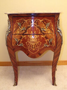 Antique Louis Xv Small Bomb Dresser Veneer Marquetry Marble Top