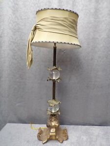 Pair Of Baroque Rococo Table Lamps With Glass Balls And Gilded Foot 34 Tall
