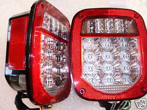 76 06 Wrangler Cj Yj Tj Led Clear Lens Tail Lights Fits Jeep Trailer Off Road