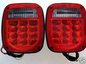 Fits Jeep Wrangler Led Tail Lights Red Lens Tj Cj Yj