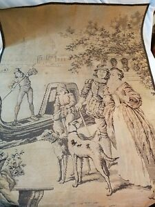 Vintage French Tapestry Wall Hanging Canal Scene Dog Adults Made In France