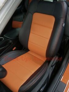 2015 2019 Ford Mustang Coupe Katzkin Leather Seat Covers Black Orange Two Tone