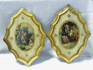 2 Vintage Italy Florentine Wood Plaques With Victorian Scenes