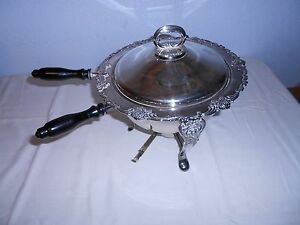 Vintage Ornate 4 Pc Silverplate Chafing Dish Serving Warmer