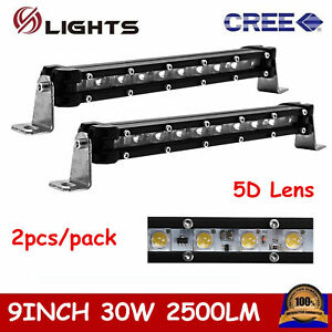 2x Slim Single Row 9 Inch 30w Led Light Bar Off Road Lamp 4wd Ford Suv Fog 5d