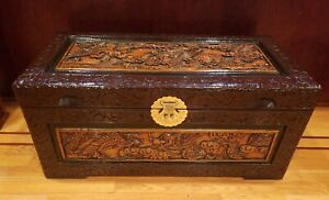 Large Vintage Hand Carved Chinese Wood Trunk Chest