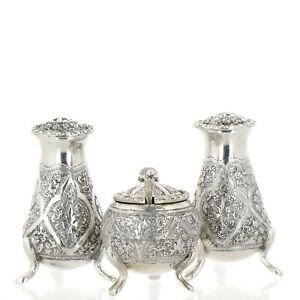Persian Silver Repousse Salt Pepper Shakers And Mustard Pot
