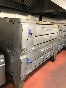 Bakers Pride Y 802 Stone Deck Double Stack Pizza Ovens