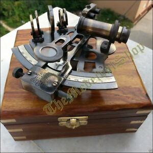 Collectible German Astrolabe Marine Nautical Sextant Wooden Box Gift