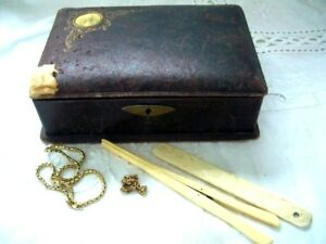 Antique Vintage Leather Jewellery Trinket Storage Box With Contents