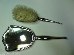 Antique Birks Sterling Mirror And Brush Vanity Set