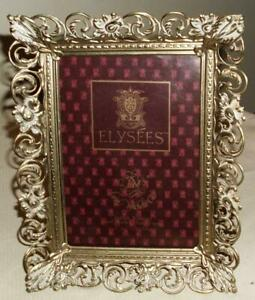 Vtg Ornate White Over Gold Open Filigree Floral Metal Picture Frame 5x7 Elysees