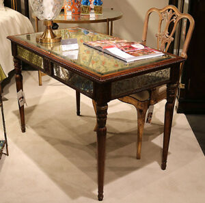 Reverse Painted Eglimose Carved Walnut French Louis Xvi Writing Desk Table Wow