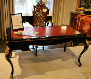 Superb Black Lacquer Red Leather Top Gilt French Louis Xv Writing Desk Table