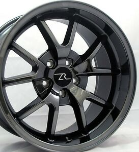 18 Black Chrome Mustang Fr500 Replica Staggered Wheels 18x9 18x10 5x114 3 94 04