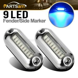 2x Marine Stainless High Intensity Led Illuminating Underwater Lights Clear blue