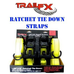 A11023y Trail Fx Cargo Yellow Ratchet Tie Down Straps 1 25 X 16 Set Of 2