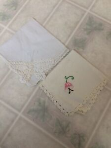 Two Vintage Hankies Cream Lace Edged Embroidered Flower White Butterfly Edge