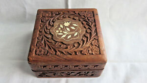 Vintage Handcarved Inlay Square Wood Box Made In India