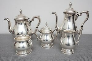 International Prelude Sterling Silver Tea Set Teapot Coffee Creamer Sugar Waste