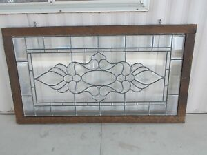 Vintage Beveled Leaded Clear Glass Window 24 3 4 X 44