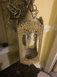 Antique Wrought Iron Chandelier Rectangular Box Shape Goth Revival Crystals