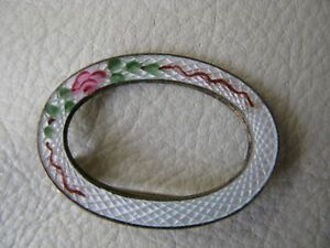 Vintage White Guilloche Hand Painted Pink Green Floral Pin Broach