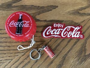 Lot Of 3 Coca Cola Collectables Patch  Key Chain  Yoyo!
