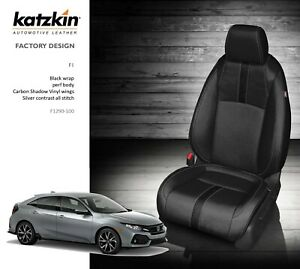 2016 2020 Honda Civic Hatchback Ex Katzkin Black Carbon Leather Seat Covers Kit