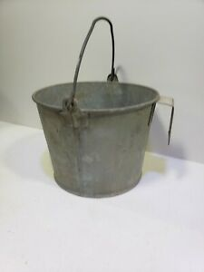 Vintage Galvanized Steel Calf Pail Rustic Chore Bucket Farm Country Planter