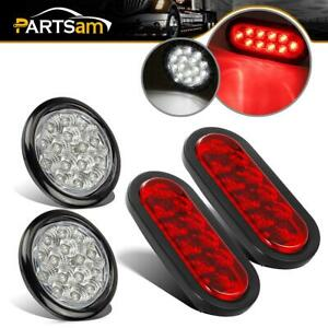 2x4 Inch Round White 15 Led 2x6 Oval Red Lens 10led Truck Stop Turn Tail Light